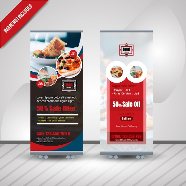 Banner Roll Up Banner Food Restaurant Premium Wektorów