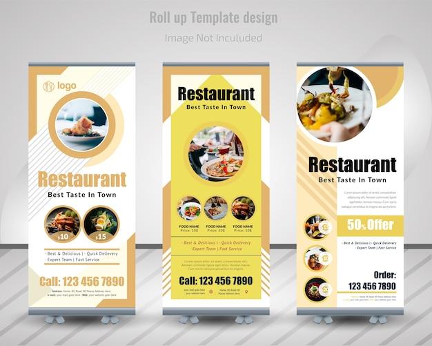 Banner Roll Up Roll Food Dla Restauracji Premium Wektorów