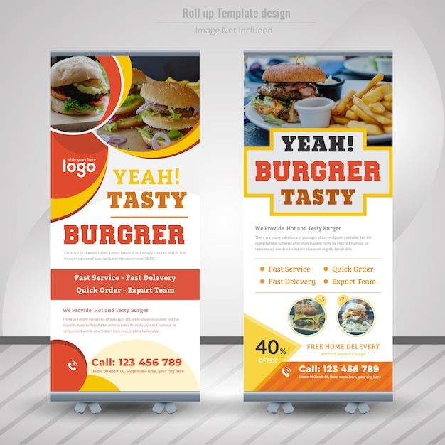 Banner Roll Up żywności Dla Restauracji Premium Wektorów