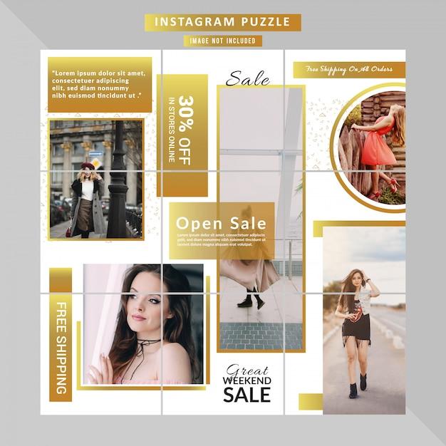 Banner sieciowy moda puzzle dla postu w mediach społecznościowych Premium Wektorów