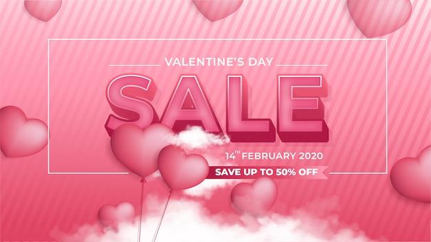Banner Sprzedaży Walentynki Premium Wektorów