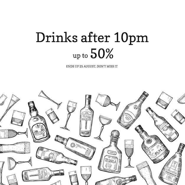 Banner Wektor Ręcznie Rysowane Alkohol Pić Butelki I Okulary Tło Ilustracja Z Miejscem Na Tekst Premium Wektorów