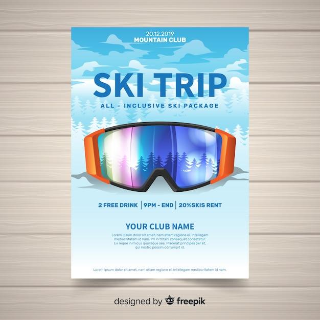 Banner wycieczka narciarska Darmowych Wektorów