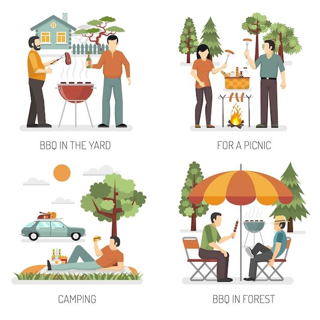 Barbecue 2x2 design concept Darmowych Wektorów