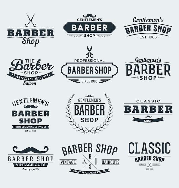 Barber etykiety kolekcji Darmowych Wektorów