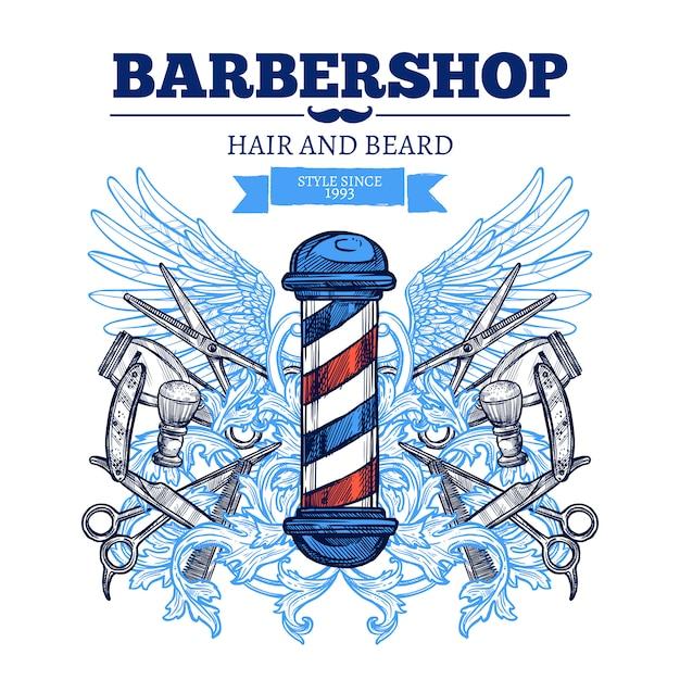 Barber shop reklama plakat płaski Darmowych Wektorów