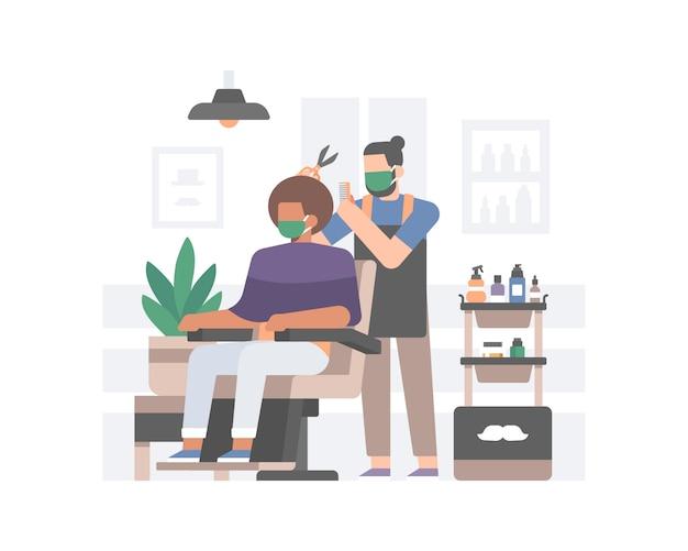 Barbershop Stosujący Bezpieczne Protokoły Zdrowotne W Nowej Normie Po Pandemii Koronawirusa Premium Wektorów