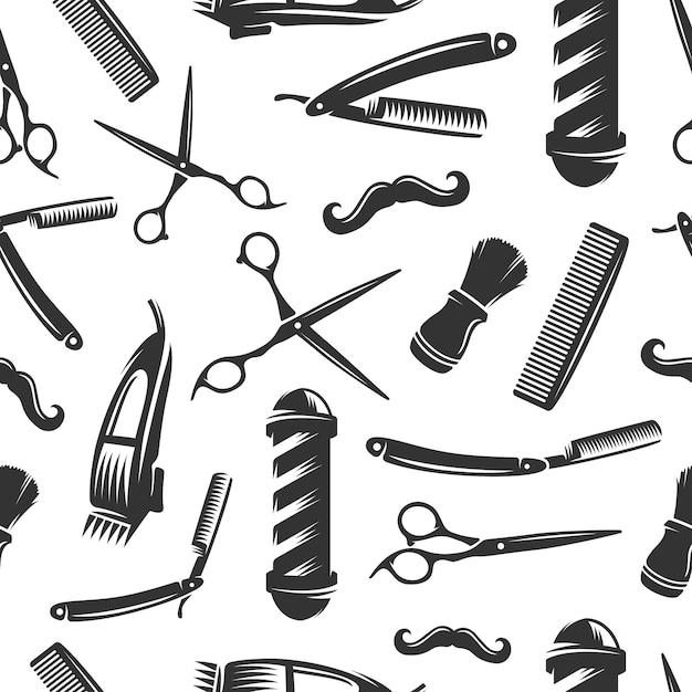 Barbershop wzór Premium Wektorów