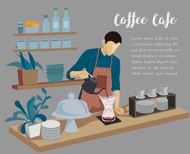 Barista Mężczyzna Robi Kawie Na Odpierającej Kawie Premium Wektorów