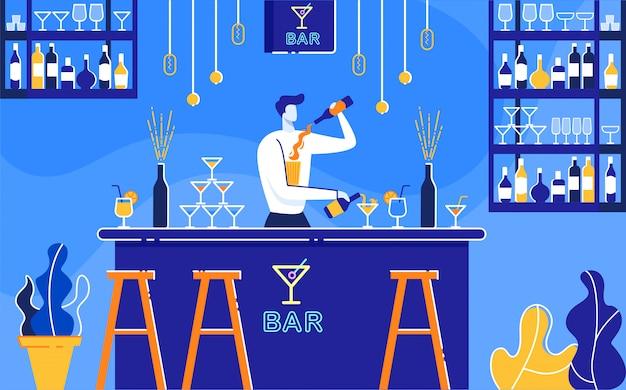 Barman Przygotowuje Koktajle Alkoholowe W Barze Flat. Premium Wektorów