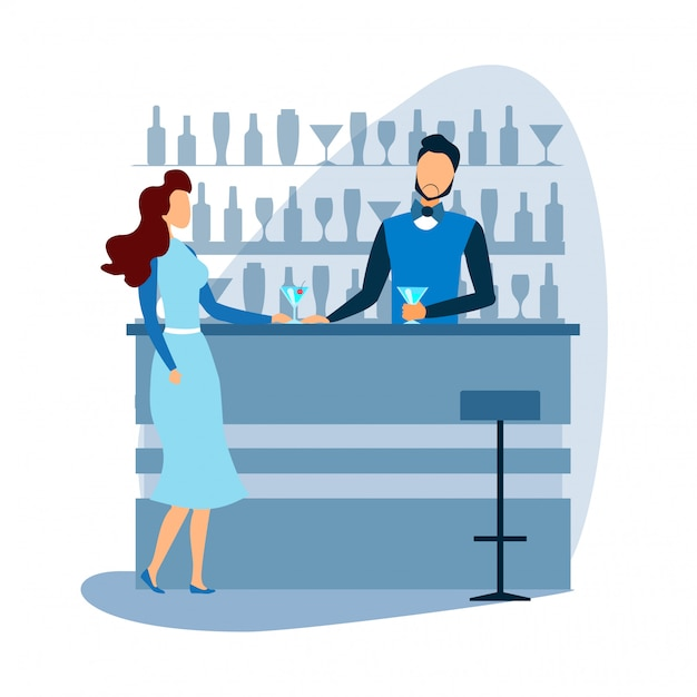 Barman W Barze Oferuje Koktajl Kobietom Premium Wektorów