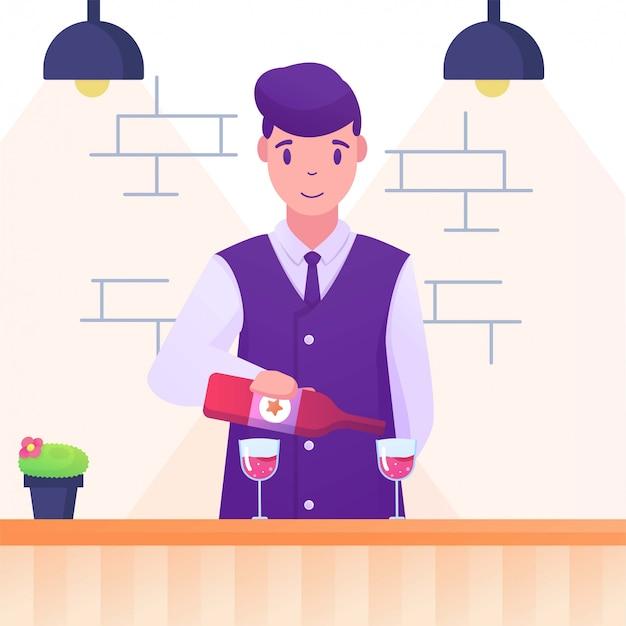 Barman W Barze Płaski Ilustracja Premium Wektorów