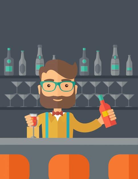 Barman w barze trzyma drinka Premium Wektorów