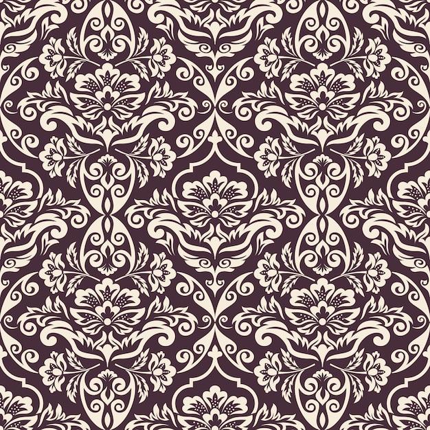 Barok Bezszwowe Tło Wzór. Klasyczny Luksusowy Staromodny Ornament Damasceński, Królewska Wiktoriańska Bezszwowa Tekstura Do Tapet, Tekstyliów, Opakowań. Wykwintny Kwiatowy Barokowy Szablon. Darmowych Wektorów