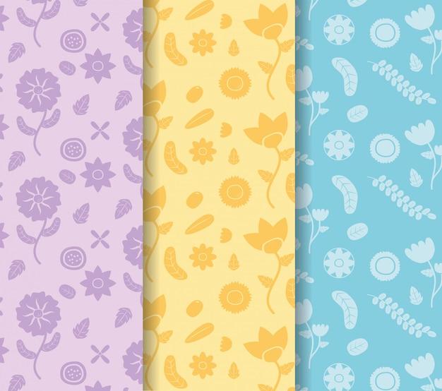 Barwiona sztandarów kwiatów dekoracja barwiąca kwitnie błękit, kolor żółty, purpurowa ilustracja Darmowych Wektorów