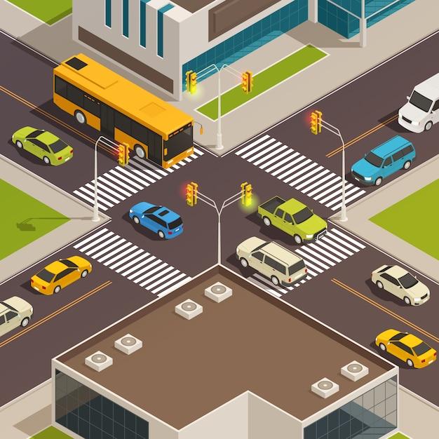 Barwionego I Odosobnionego Miasta Isometric Skład Z Drogą I Crosswalk Przy Centrum Miasta Wektoru Ilustracją Darmowych Wektorów