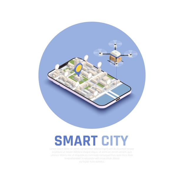 Barwionego Mądrze Miasta Isometric Skład Z 3d Mapą I Abstrakta Trutniem W Telefonu Wektoru Ilustraci Darmowych Wektorów