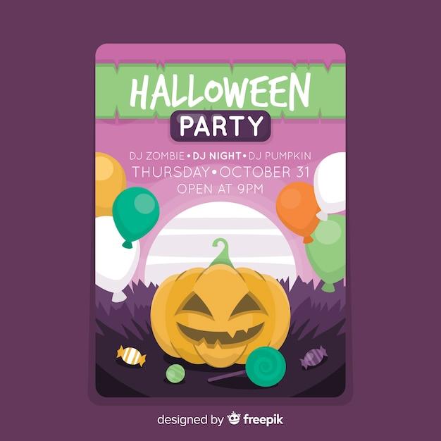 Barwiony Szczęśliwy Dyniowy Halloween Przyjęcia Plakat Darmowych Wektorów
