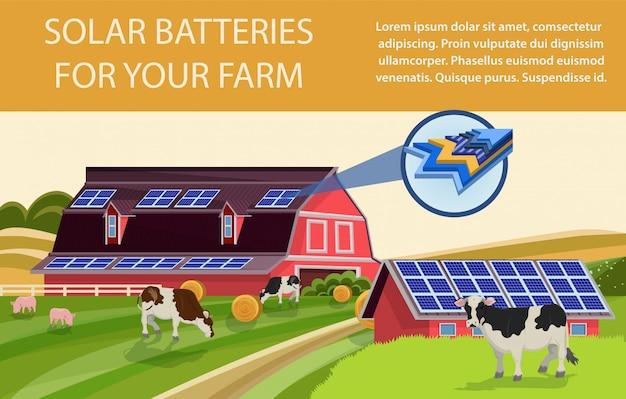 Baterie słoneczne do gospodarstwa Premium Wektorów
