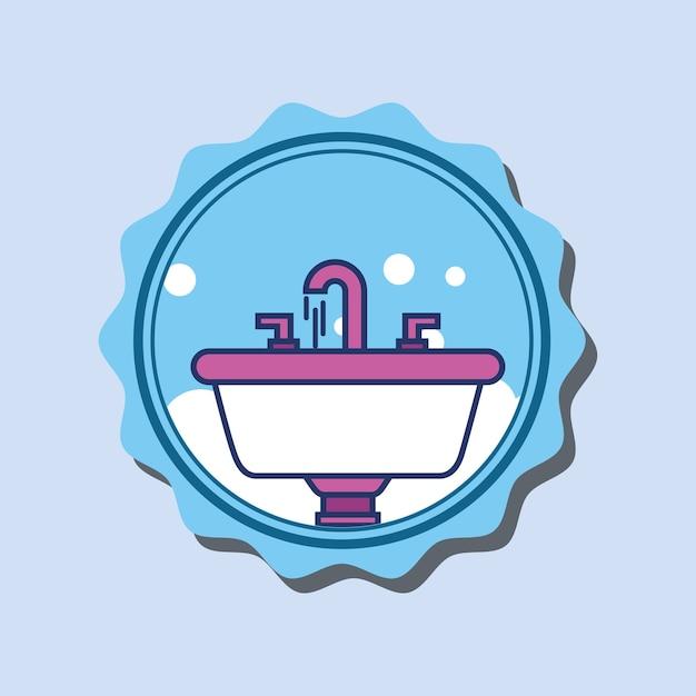 Baterie Umywalkowe Bąbelki łazienka Transparent Kreskówka Premium Wektorów