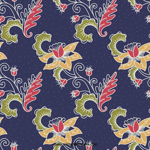 Batik Ozdobny Kwiat Tle Darmowych Wektorów