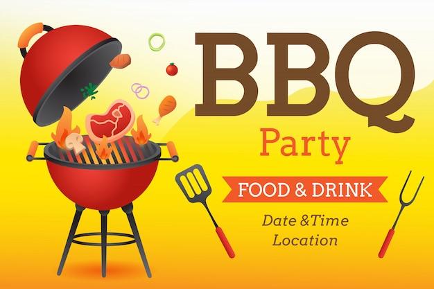Bbq przyjęcia zaproszenia plakatowy szablon z grilla i jedzenia ulotki mieszkaniem projektuje wektorową ilustrację. Premium Wektorów