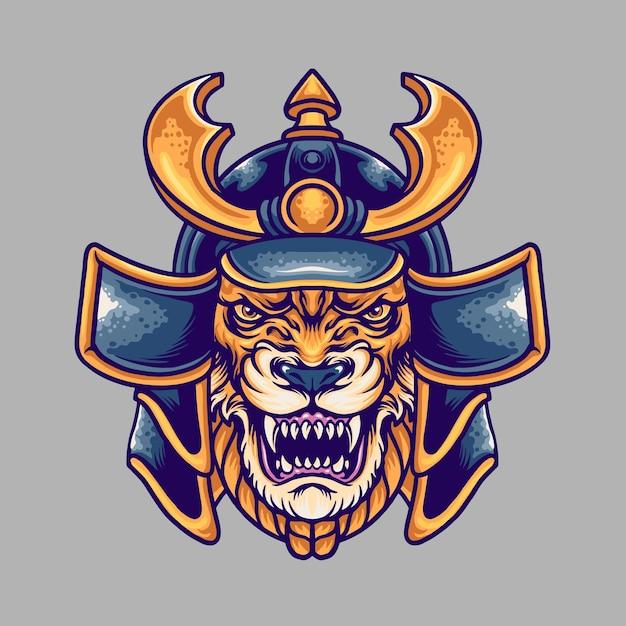 Beast Samurai Illustration Premium Wektorów