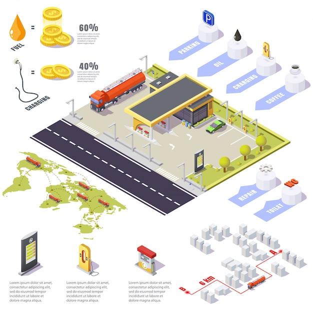 Benzynowej Staci Infographic Plombowanie, Niebezpieczna Substancji Ciężarówka, Isometric 3d Ilustracja. Premium Wektorów