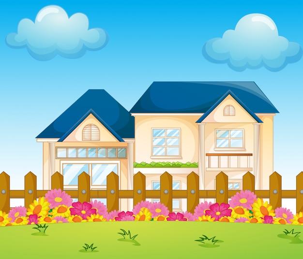 Betonowy Dom Wewnątrz Ogrodzenia Premium Wektorów