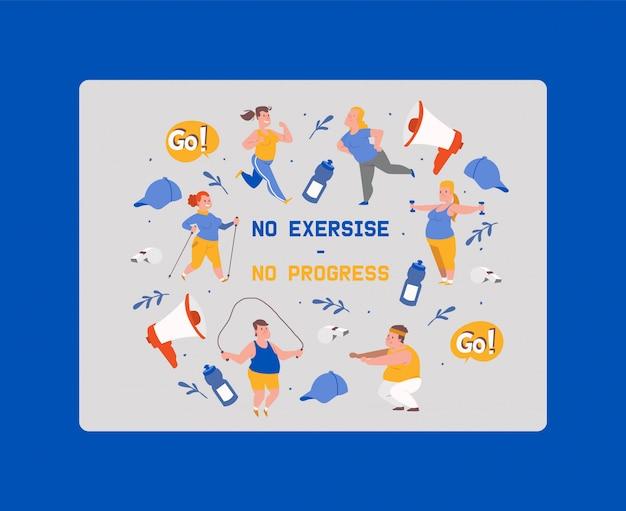 Bez ćwiczeń brak postępów. osoby z nadwagą wykonujące ćwiczenia. otyły mężczyzna i kobieta robi ćwiczenia z skakanka, hantle. Premium Wektorów