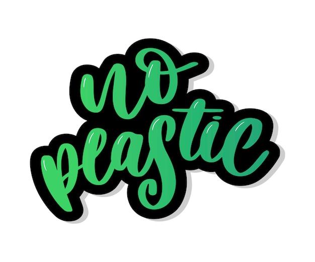 Bez Plastiku Brak Plastiku W Napisie Premium Wektorów