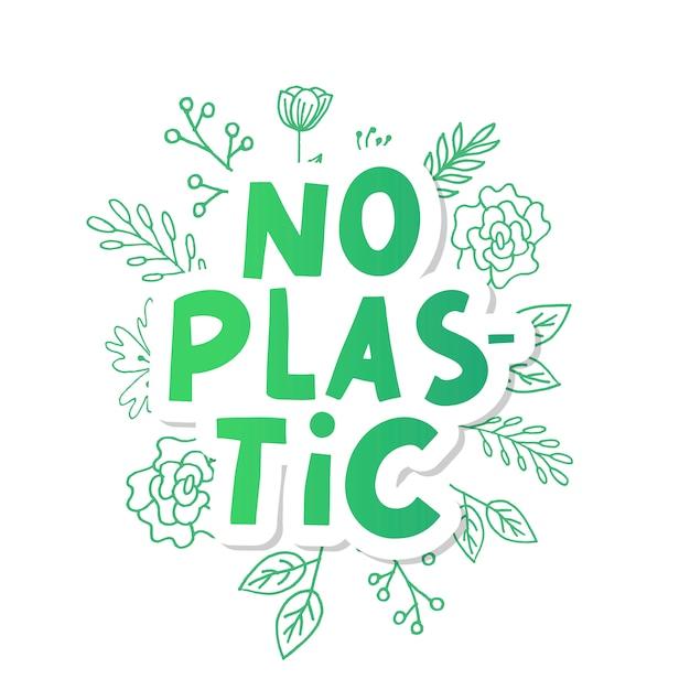 Bez Plastiku, świetny Design Do Jakichkolwiek Celów. Ilustracja Odpadów Z Tworzyw Sztucznych. Znak Ekologiczny. Premium Wektorów