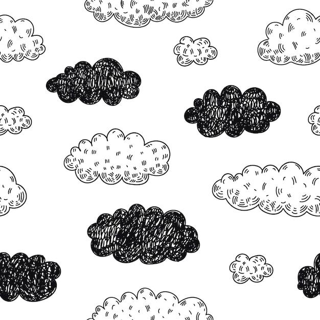 Bez Szwu Doodle Chmury Wzór. Prognoza Pogody, Deszczowy Dzień W Tle. Szkic, Dziecinny ładny Styl. Premium Wektorów
