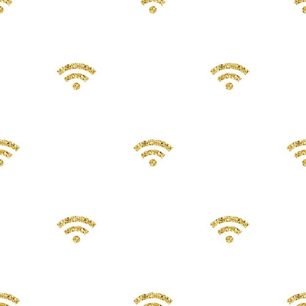 Bez Szwu Glitteru Złota Wifi Sieci Symbolu Deseń Tła Premium Wektorów