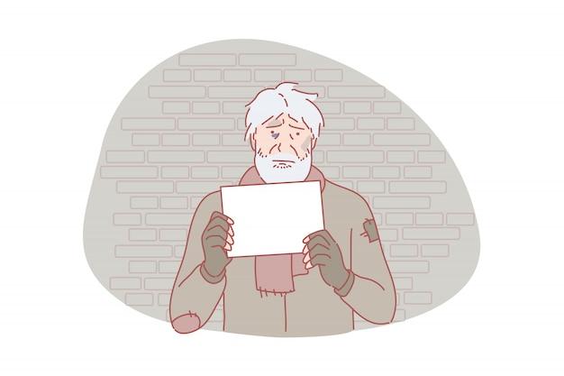 Bezdomni, Bieda, Problem Społeczny, Prośba O Ilustrację Premium Wektorów