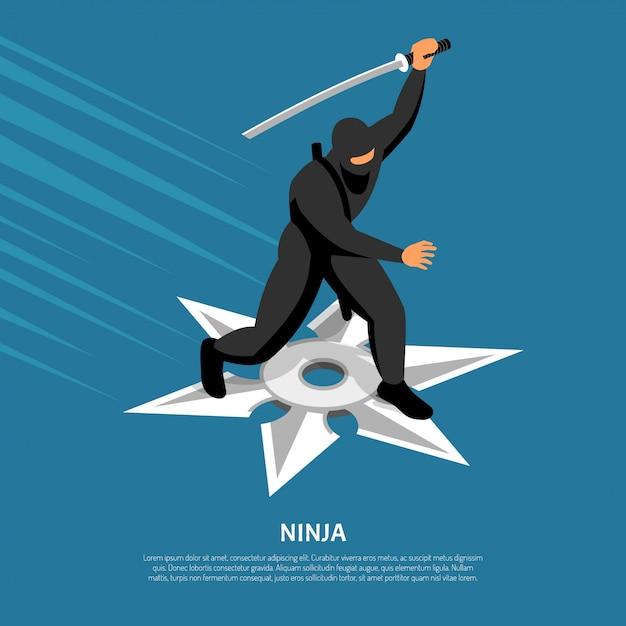 Bezkonkurencyjna Postać Wojownika Ninja W Akcji Darmowych Wektorów