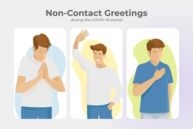 Bezkontaktowe Pozdrowienia Dla Zapobiegania Koronawirusowi Darmowych Wektorów