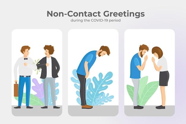 Bezkontaktowe Pozdrowienia Podczas Koronawirusa Premium Wektorów