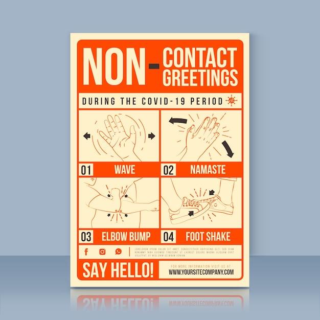 Bezkontaktowy Plakat Z Pozdrowieniami Darmowych Wektorów