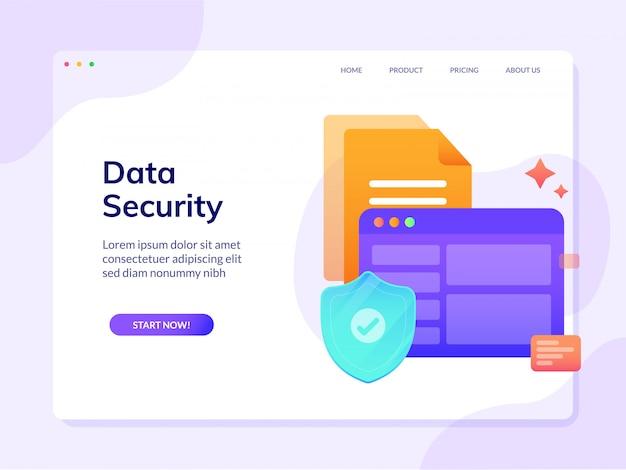 Bezpieczeństwo danych witryny docelowej strony wektor szablon ilustracja Premium Wektorów