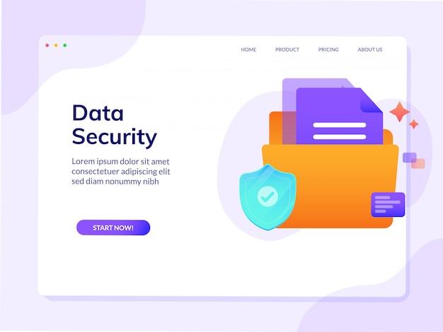 Bezpieczeństwo danych witryny docelowej strony wektor szablon projektu Premium Wektorów