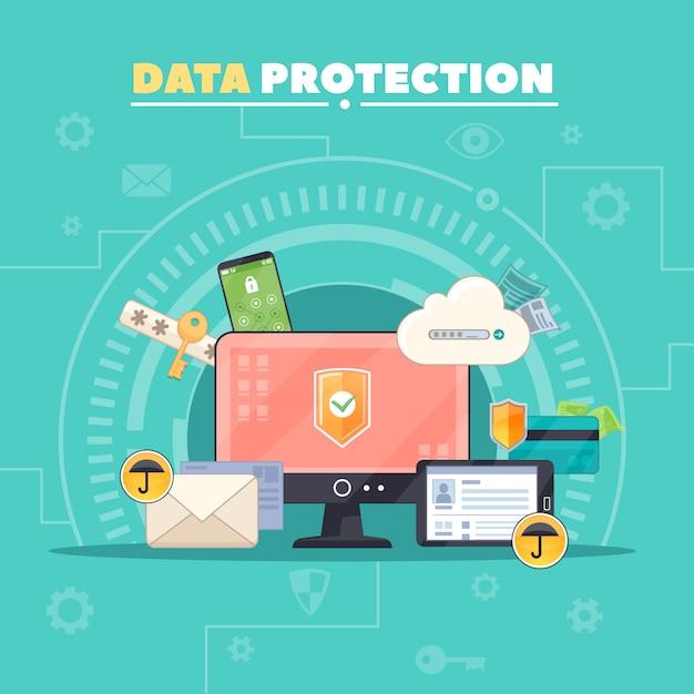 Bezpieczeństwo komunikacji komputerowej i prywatna ochrona danych Darmowych Wektorów