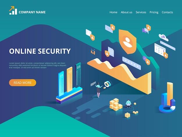 Bezpieczeństwo Online, Bezpieczne Przeglądanie Internetu. Pojęcie Ochrony Danych. Izometryczna Ilustracja Na Stronę Docelową, Projektowanie Stron Internetowych, Baner I Prezentację. Premium Wektorów