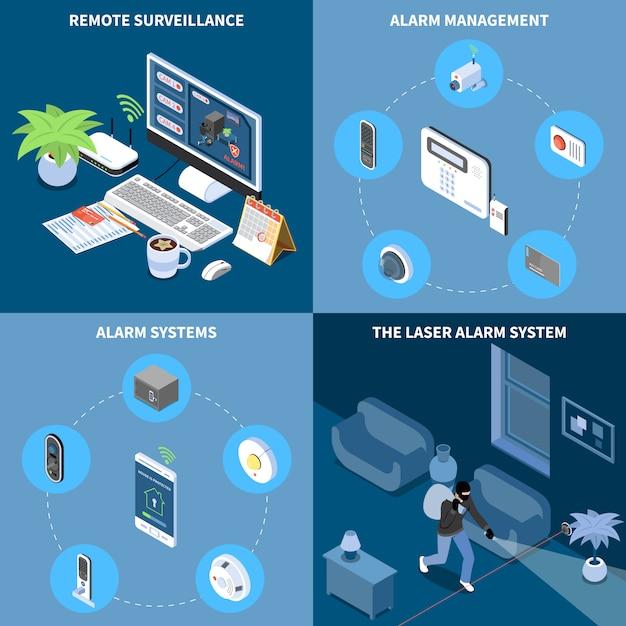 Bezpieczeństwo W Domu Koncepcja Projektu 2x2 Zestaw Zdalnego Zarządzania Alarmem Laserowego Systemu Alarmowego Nadzoru Kwadratowe Ikony Izometryczny Darmowych Wektorów