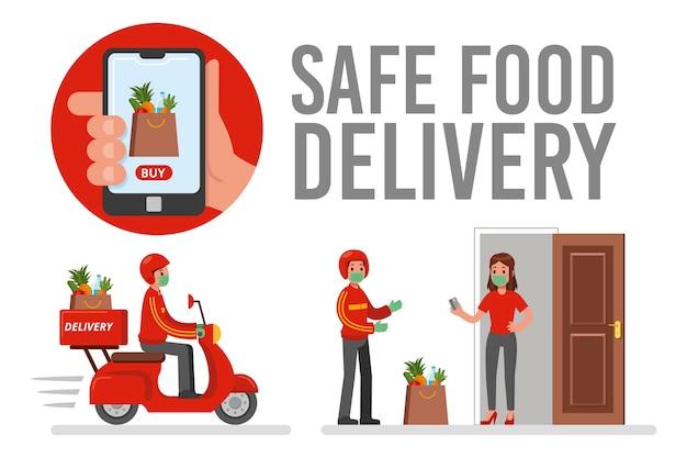 Bezpieczna Dostawa żywności Darmowych Wektorów