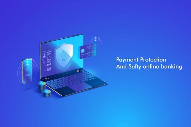 Bezpieczna transakcja płatności online z komputerem. ochrona zakupów bezprzewodowych płatności za pośrednictwem komputera za pomocą karty kredytowej. Premium Wektorów