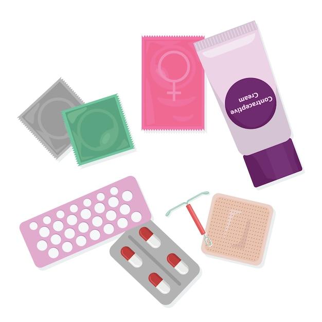 Bezpieczny Seks I Kontrola Urodzeń. Zestaw Metod Antykoncepcji Premium Wektorów