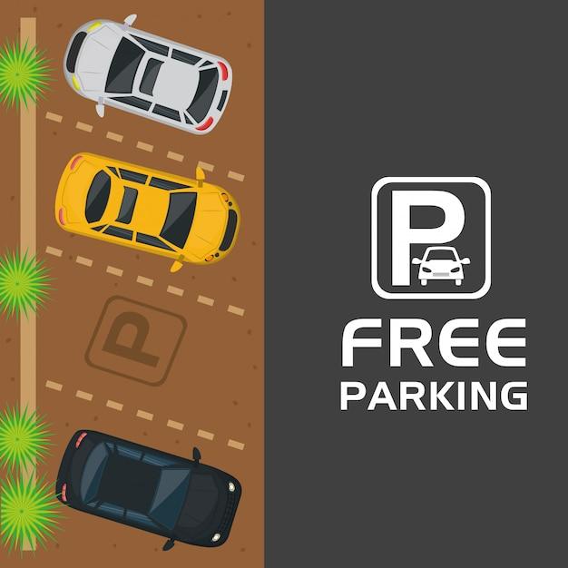 Bezpłatny parking z widokiem na powietrze Premium Wektorów
