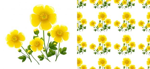 Bezproblemowa Z żółtymi Kwiatami Darmowych Wektorów