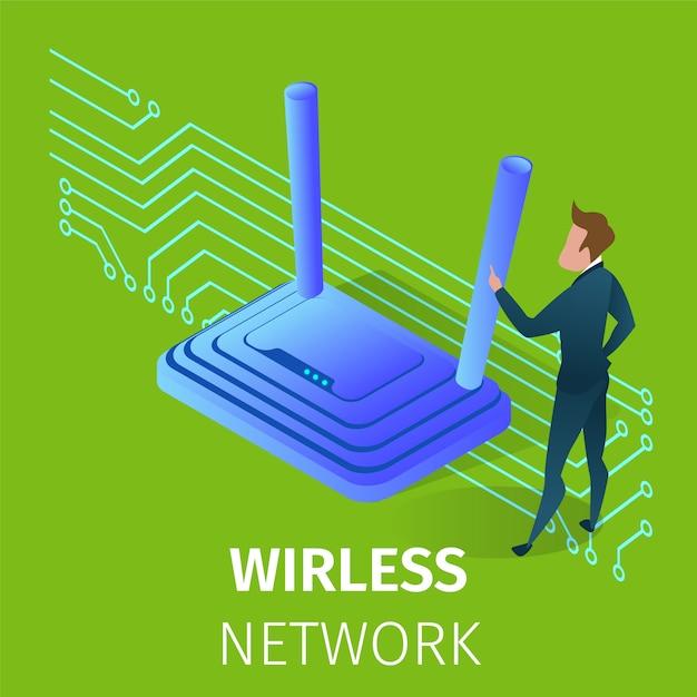 Bezprzewodowa technologia sieci wi-fi w życiu człowieka. Premium Wektorów